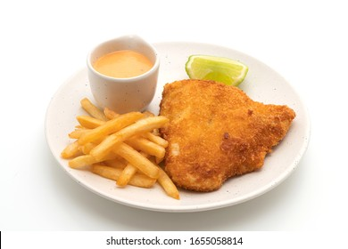 fried fish and potato chips isolated on white background