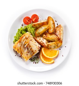 Fried fish with potatoes