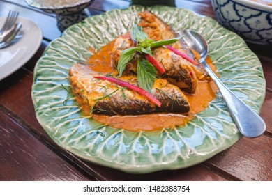 Fried Fish with Red Curry Paste Chu Chee Pla, Traditional Thai food