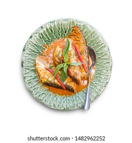 Fried Fish with Red Curry Paste Chu Chee Pla, Traditional Thai food isolated on the white background with clipping path