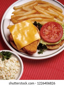 Fried fish sandwich w/ cheese, tomato, cole slaw and french fries.