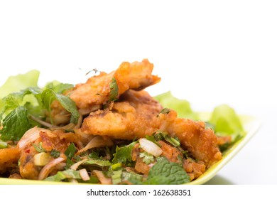 Fried fish with spicy herb sauce,thai food