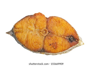 fried fish steak isolated on white background, from above