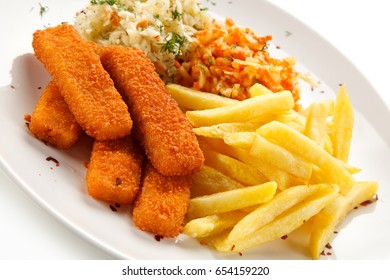 Fried fish sticks with french fries on white background