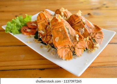 Fried flathead lobster with garlic delicious thai seafood