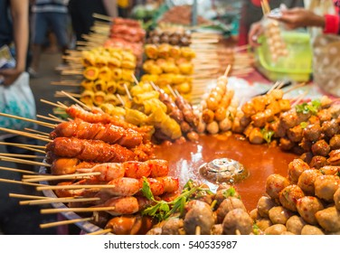 Fried food with sticks, Thai style food, Thailand street food ,Bangkok