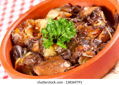Fried forest mushrooms with potato