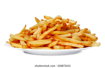 Fried french fries chips in white isolated background