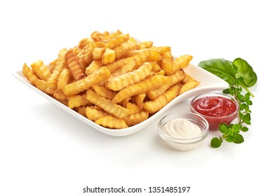 Fried French fries, potato fry with tomato sauce and mayonnaise, close-up, isolated on white background.