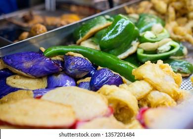 Fried Fresh vegetables sausage and fish at Hong Kong street food stall