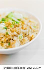 Fried garlic rice in white bowl - japanese style food
