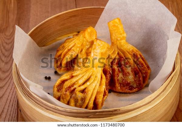 Fried Georgian Khinkali with meat