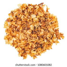 Fried gold onion or shallots for garnishing isolated on white background. Top view.