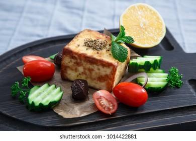 Fried halloumi cheese or cheese Saganaki