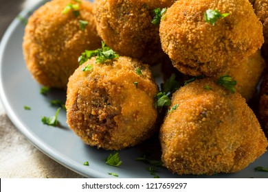 Fried Homemade Dutch Bitterballen with Spicy Mustard