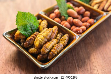 Fried insect in a brown ceramic bowl on the wooden table. Concepts for edible insects contributing to food security and food revolution. Close-up, Selective focus.