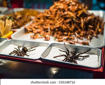 Fried insects on the streets of Khao San Road in Bangkok, Thailand