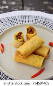 Fried Lumpia or spring rolls with ground beef filling