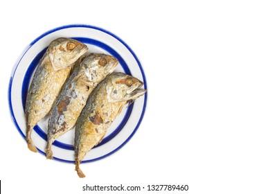 Fried mackerels on white plate