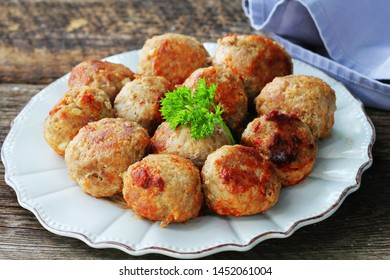 Fried meat ball, delicious meat cutlets on rustic dark table .
