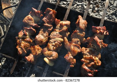 Fried meat on the grill with onions on skewers, barbecue