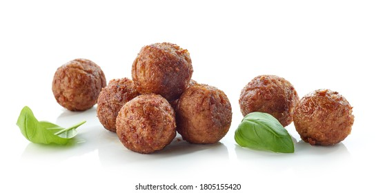 fried meatless plant based balls isolated on white background - Shutterstock ID 1805155420