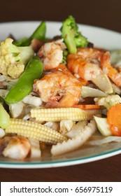 Fried mixed vegetables, shrimp - mixed vegetables, fried shrimp -  Stir fry vegetables and shrimp