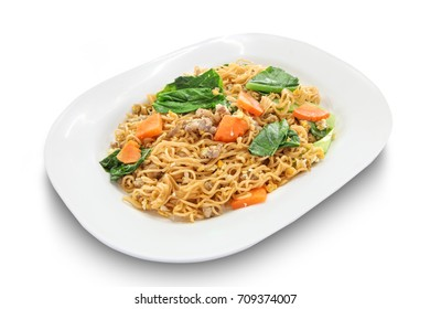 Fried noodles with pork and egg  in white dish isolated on white background, Thai Food