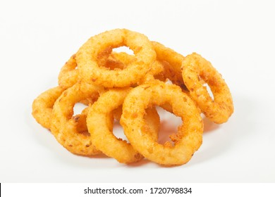fried onion rings in batter, on an isolated white background