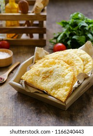 fried pies with meat - chebureks oriental cuisine