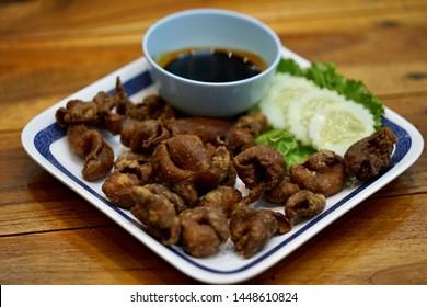 fried pork chitterlings for appetizer