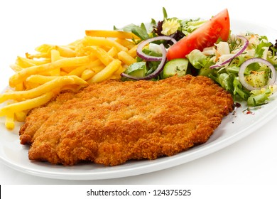 Chicken Schnitzel Chips Salad Hd Stock Images Shutterstock