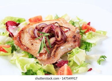 Fried pork cutlet with onion and fresh salad