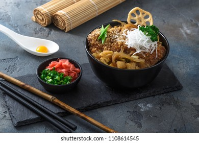 fried pork cutlet rice bowl Katsudon, Japanese food style