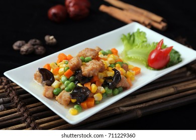 Fried pork fillet with corn
