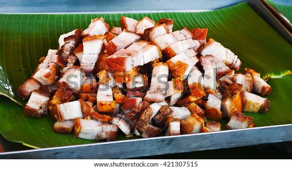 Fried pork in Market