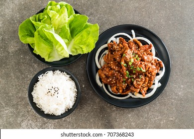 fried pork with spicy korean sauce (bulgogi) - korean food style
