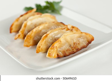 Fried Pot stickers, Dumplings, Traditional Asian Food, Stuffed with Pork Meat or Vegetables