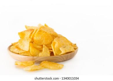 Fried potato chips isolated on white background.