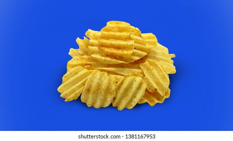 Fried potato chips junkfood snack against blue backgr