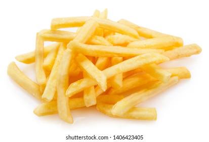 fried potato isolated on white background