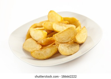 Fried potato wedges isolated with clipping path