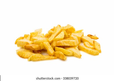 fried potatoes and frying pan basket on a white background
