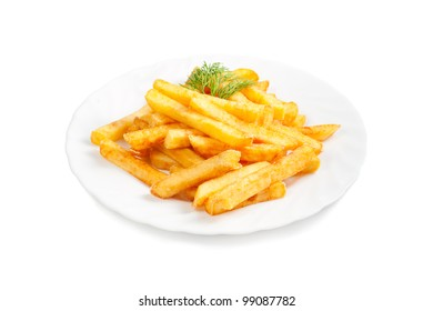fried potatoes isolated  on white background