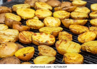 fried potatoes on the grill