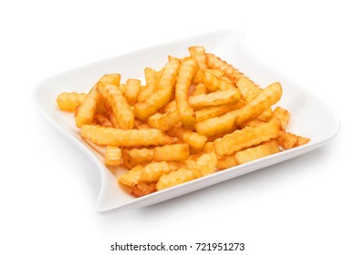 Fried potatoes on a white plate and white background