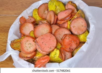 Fried potatoes with sausage, Peruvian food, salchipapa