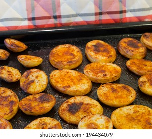 Fried potatoes slices.