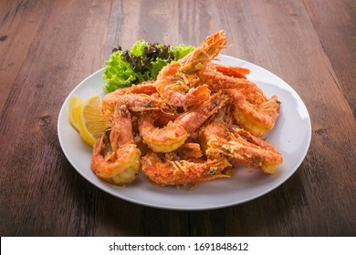 fried prawn on wooden table