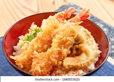 fried prawns tempura on topped rice bowl - Japanese food style